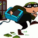 Cartoon burglar stealing a tv